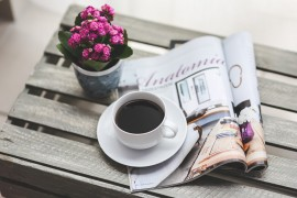Read Newspaper Free Time Reading Magazine Coffee